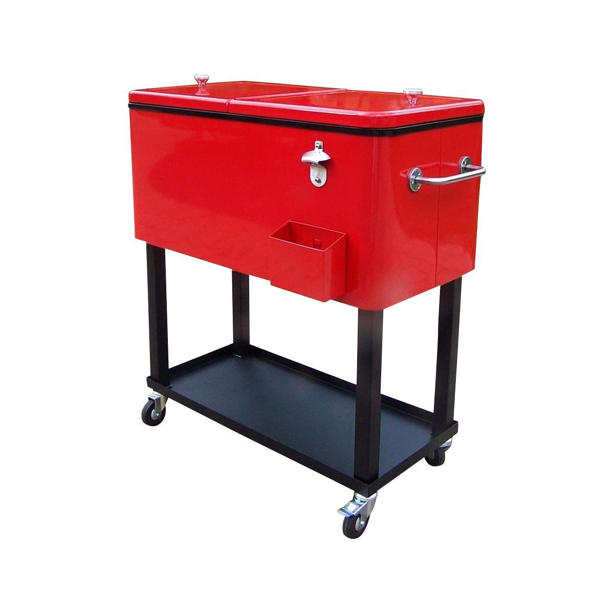 Red patio cooler on wheels photo