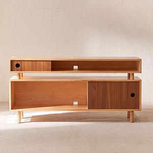 Wooden media console with two levels and brown sliding panels photo