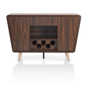 Dark walnut dining buffet with wine bottle spots on the bottom and angled wooden legs photo