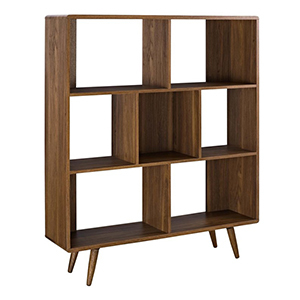 Three-tier wooden bookcase with offset shelf dividers photo