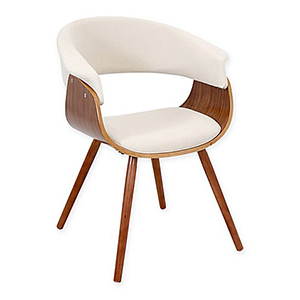 Cream dining chair with curved walnut seat, rounded back, and wooden angled legs photo