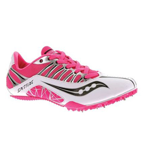 Hot pink Saucony lightweight running shoes with spike platform on the bottom photo