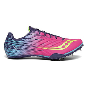 Hot pink and blue lightweight running shoes with spike platform on the bottom from Saucony photo