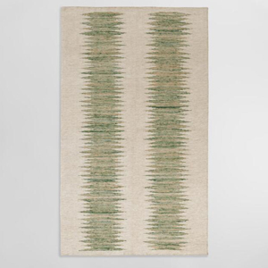 World Market ivory outdoor rug with two green rigid stripes down the middle photo