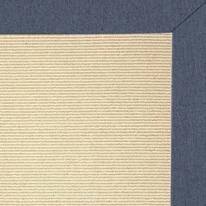 Pottery Barn bleached outdoor rug with navy blue trim photo