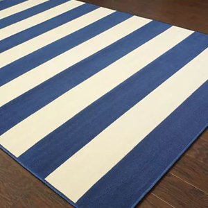 blue and white striped outdoor rug photo