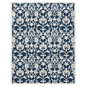 blue and white floral rug from Walmart photo