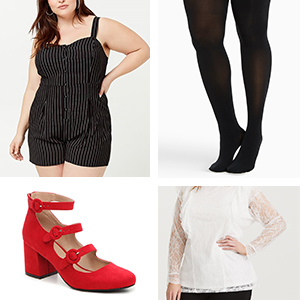 White ruffled lace top underneath a black and white pinstripe romper with black tights and red suede pumps photo