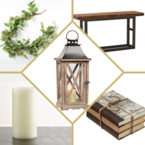 Light wooden lantern paired with a candle, vintage books, a table, and garland. photo