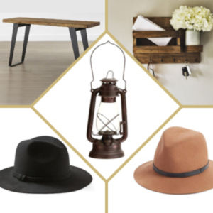Traditional lantern paired with a black fedora, a tan fedora, a table, and an organizer. photo