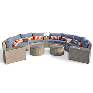 Overstock outdoor sectional set with blue cushions and round coffee tables photo
