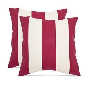 Overstock outdoor throw pillows with red and white stripes photo