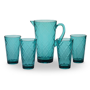 Overstock five-piece acrylic glassware set in teal photo