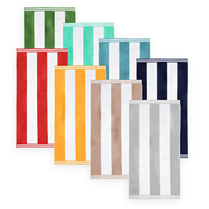 Overstock beach towels with stripes in an assortment of colors photo