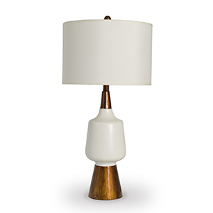 White and faux wood table lamp photo