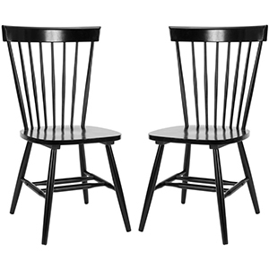 Home Depot set of 2 black wood dining chairs photo