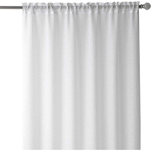 Home Depot white textured sheer curtain photo