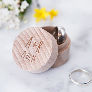 Customizable wood ring box with initials and wedding date. photo