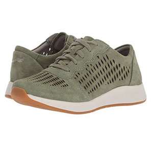 Olive green running shoes with laser cut details on the sides and at the toe. photo