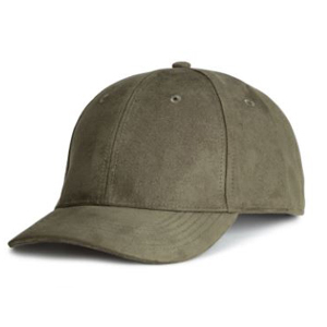 Olive green faux suede baseball cap. photo