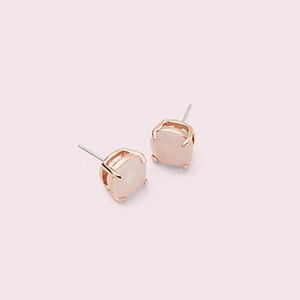 Light pink square Kate Spade studs with gold backs photo