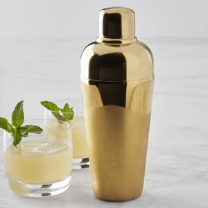 gold cocktail shaker with two drinks photo