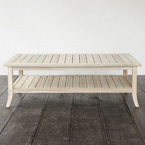 Teak coffee table with two tiers. photo
