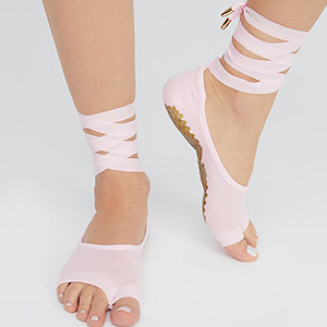Work out sock with hexagonal silicon grip at the bottom and lace up ankle straps photo