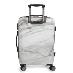 Spinning marble carry-on suitcase with top pull handle. photo
