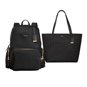 Black backpack and tote with gold accents. photo