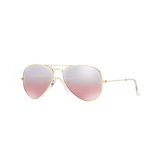 Ray Ban aviator sunglasses with gold frame and pink lenses photo