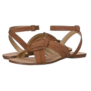 brown suede sandals with ankle strap and buckle photo