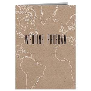 Tan wedding program with white outlines of countries on it photo