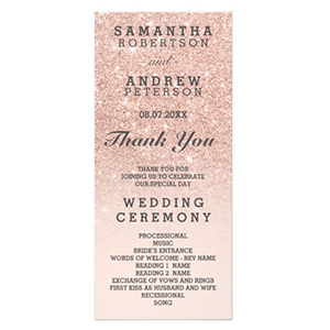 Pink ombre wedding program with faux glitter fading from top to bottom photo