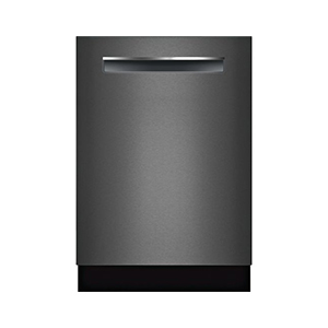 Black stainless-steel dishwasher with touch screen technology photo