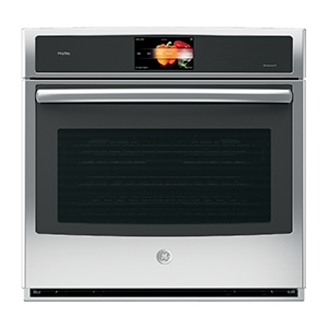 Black and silver wall oven by GE with touch screen photo