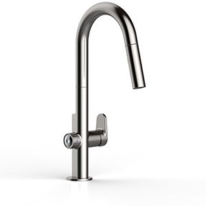 Chrome faucet with measure-fill technology photo