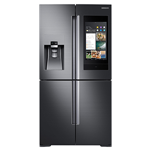 Dark gray fridge with tablet-style touch screen on right and water dispenser on left. photo