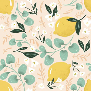 Light pink wallpaper with lemons and green leaves on it photo