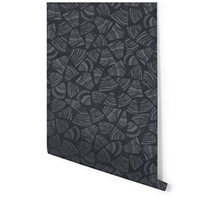 Gray wallpaper with organic cut wood motif photo