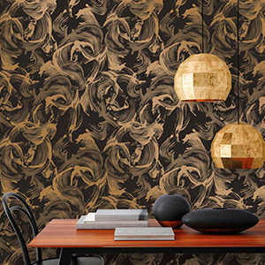 Black wallpaper with gold metallic strokes painted all over photo