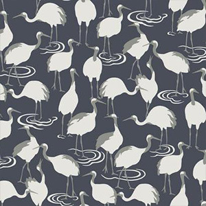 Gray wallpaper with white cranes printed all over photo