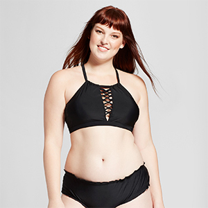 Black halter bikini top with crisscross detailing in the center photo