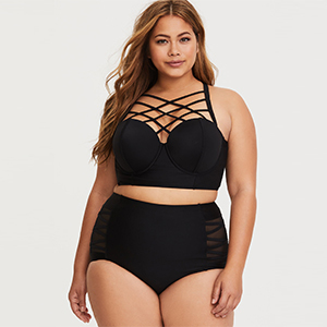 Black push-up bikini top with crisscross straps along the neckline paired with black high-waisted bottoms photo