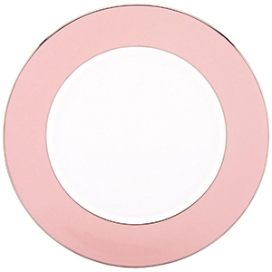 White bone china charger plate with light pink rim photo