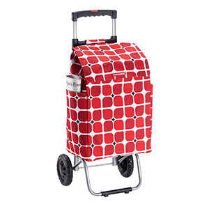 Red and white fabric shopping cart with wheels and handle photo