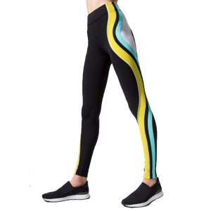 Black leggings with yellow and blue wavy lines down the outside of the leg. photo