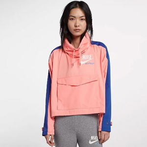 Light pink jacket with cobalt blue stripes on the sleeves and Nike logo in the upper right. photo