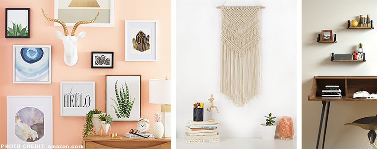 Collage of different home decor, from left to right there's a gallery wall, a macramé wall hanging, and floating shelves. photo