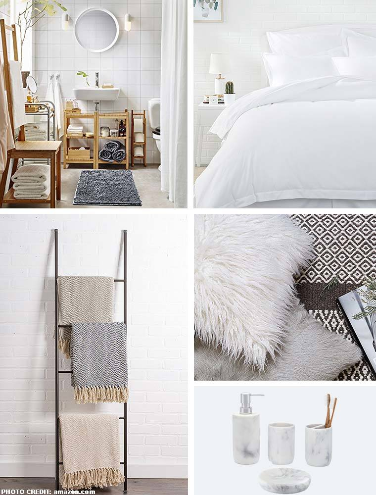 Collage of different bed and bath essentials including: bath rug, white bedding set, throw blankets on a ladder, white fuzzy throw pillow, and marble bathroom accessory set. photo